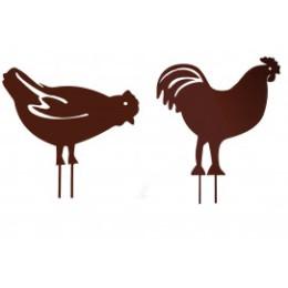 Poule et coq en métal fer vieilli à planter