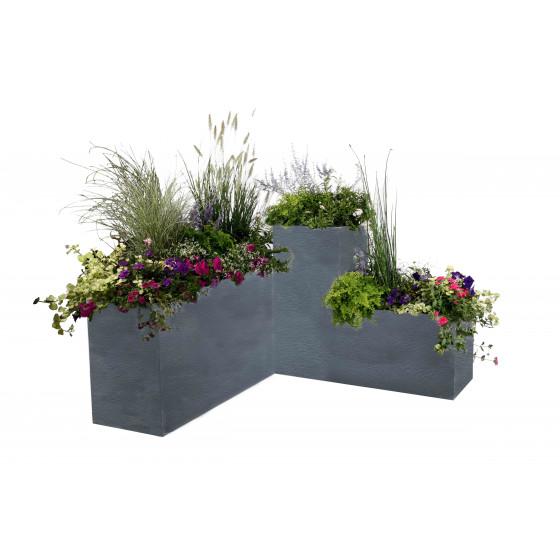 Bac à fleurs rectangulaire bas 98 litres gris anthracite