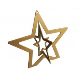 Etoile en métal dorée 3D 14 x 16 cm