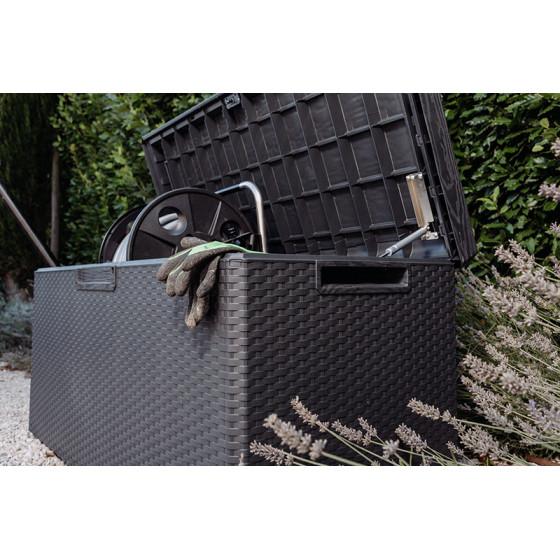 Coffre de rangement extérieur en résine tressée gris 350 L