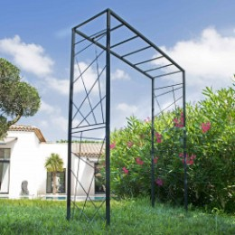 Arche de jardin double carré décor moderne en acier gris anthracite