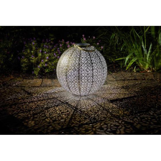 Lanterne solaire ronde en métal ajouré 1 LED blanche
