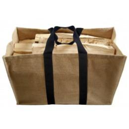 sac à buches en toile de jute naturelle beige