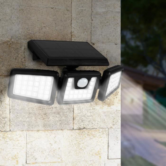 Spot solaire puissant extérieur 3 têtes pivotantes avec détecteur de mouvement
