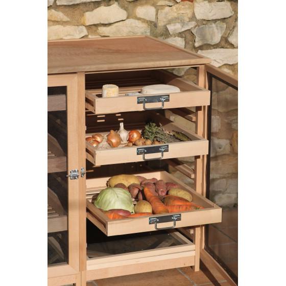 Garde manger légumier fruitier buffet en bois 6 tiroirs